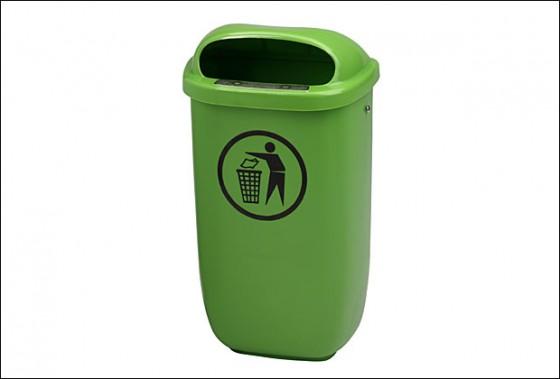 Afvalbak, kunststof, groen
